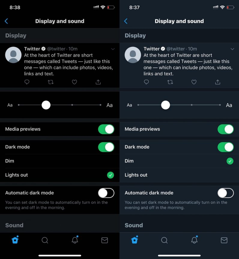 twitter lights out vs night mode