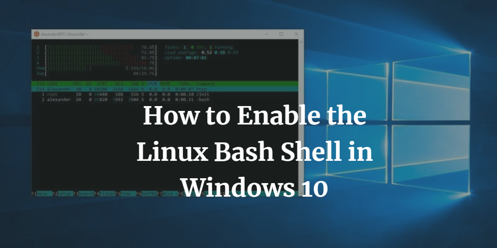 How to Enable the Linux Bash Shell in Windows 10 - TheLinuxOS